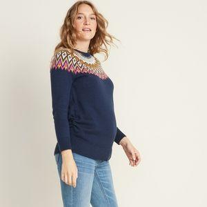 OLD NAVY • fair isle navy knit maternity sweater